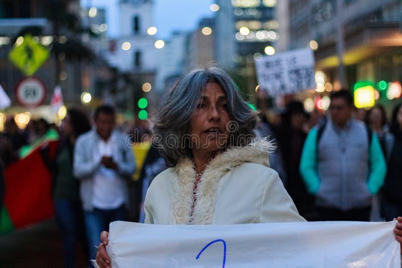 18 marzo 2019 - marzo per la difesa del PEC, giurisdizione speciale per il ¡ Colombia di Bogotà di pace fotografia stock libera da diritti