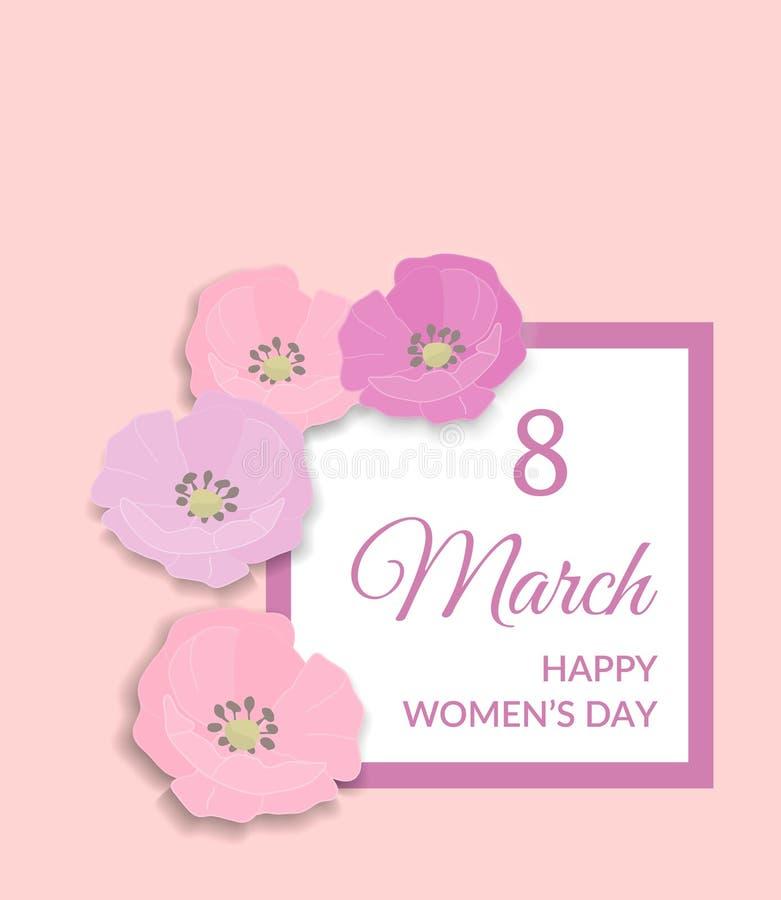 8 marzo progettazione felice della cartolina d'auguri di Giornata internazionale della donna Testo rosa sulla struttura bianca e  illustrazione vettoriale