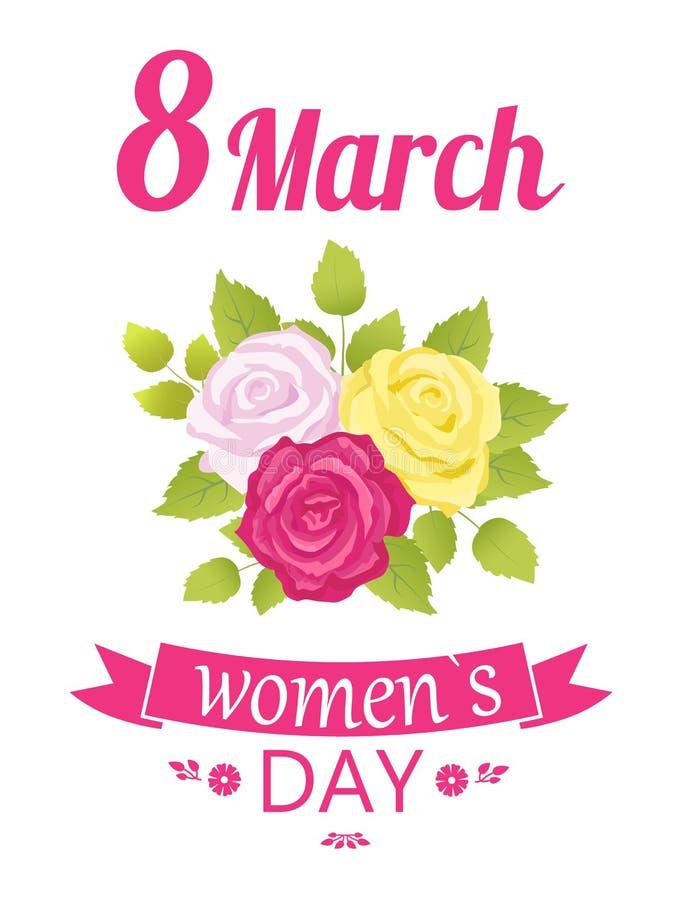 8 marzo rose del giorno delle donne, illustrazione di vettore illustrazione di stock