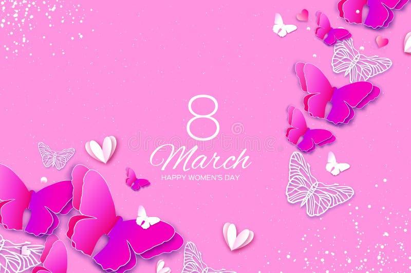 8 marzo tropicale Cartolina d'auguri del giorno delle donne rosa con la farfalla tagliata di carta Feste esotiche della molla di  royalty illustrazione gratis
