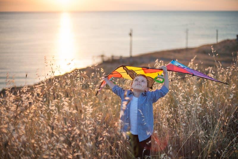Marzyć chłopiec mienia kani above głowę wśród pola złoci kolce przeciw dennemu wybrzeżu przy zmierzchem zdjęcie stock