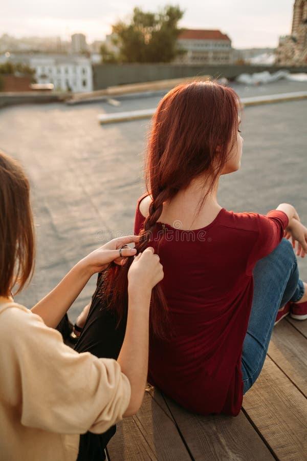 Marzycielki meliny młodości czasu wolnego hobby plecenia włosy zdjęcia royalty free