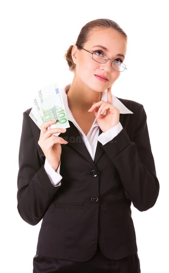 Marzycielska biznesowa kobieta z euro gotówki pieniądze zdjęcie stock