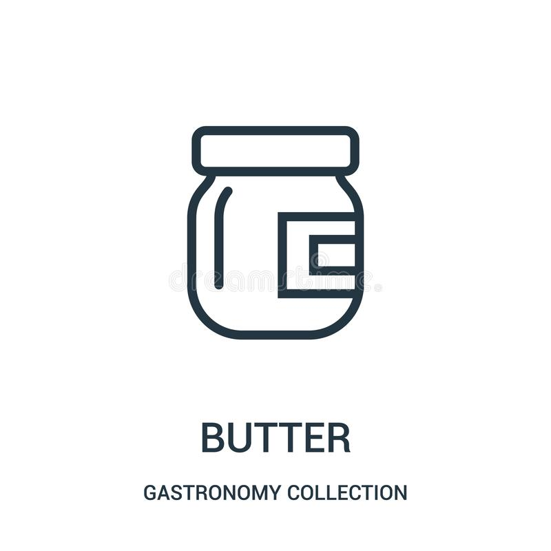 masło ikony wektor od gastronomy kolekcji kolekcji Cienka kreskowa masło konturu ikony wektoru ilustracja ilustracji