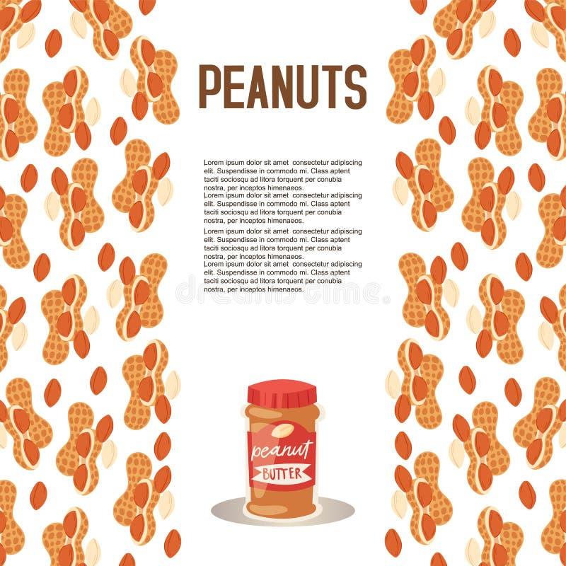 Masło orzechowe plastikowego słoju plakatowa wektorowa ilustracja Karmowa pasta lub rozszerzanie się robić od ziemi piec arachidy ilustracja wektor