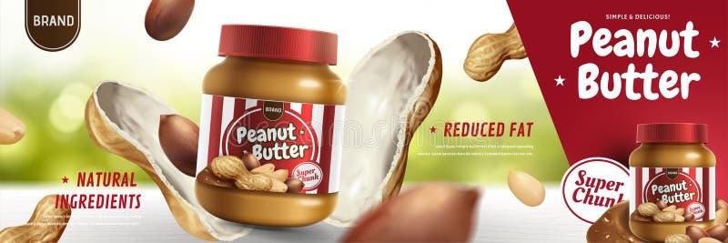 Masło orzechowe rozciągnięte reklamy royalty ilustracja