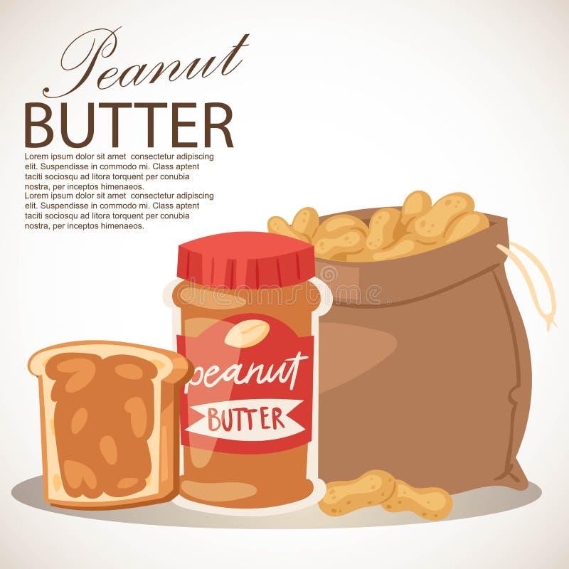 Masło orzechowe sztandaru wektoru ilustracja Kawałek chleb z masłem Karmowa pasta lub rozszerzanie się robić od ziemi piec ilustracja wektor