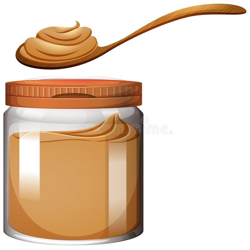 Masło orzechowe w plastikowym słoju ilustracji