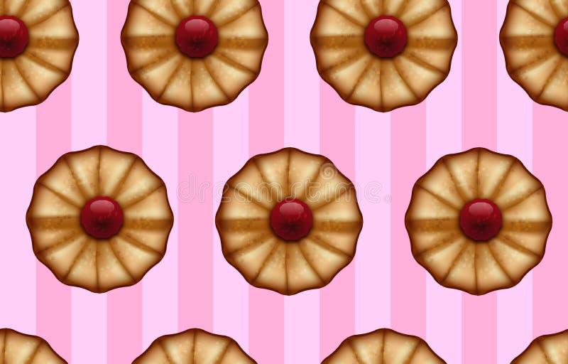 Masłowaci ciastka z czerwonym dżemem na pasiastych cukierki menchiach barwią bezszwowego tło ilustracji