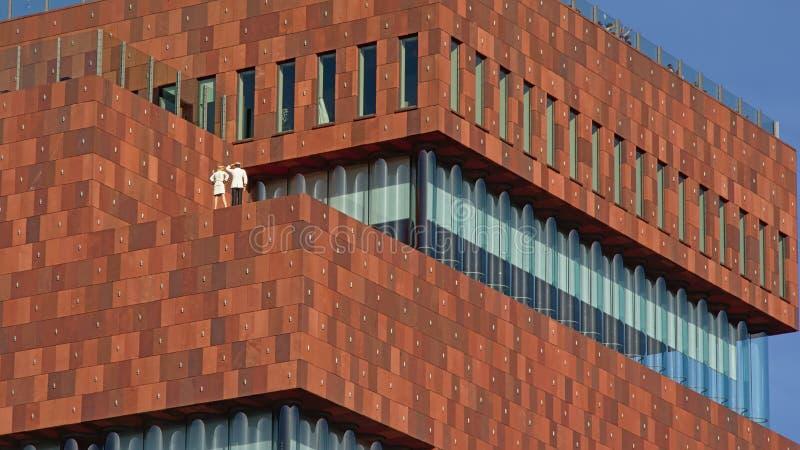 MAS博物馆的现代建筑学的细节,安特卫普 库存照片