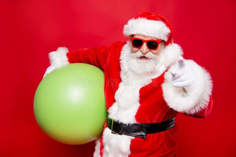 Mas alegre Papá Noel elegante positivo divertido alegre del acebo feliz x adentro fotografía de archivo