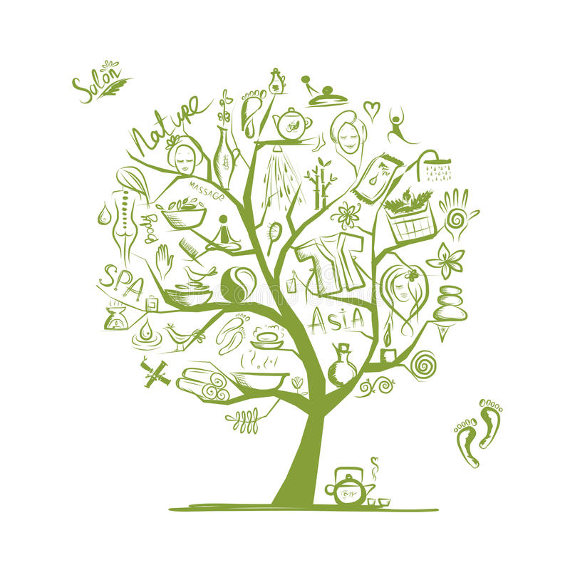 Masaż i zdroju pojęcie, sztuki drzewo dla twój projekta royalty ilustracja
