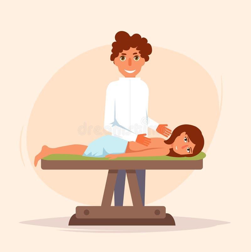 masaż leczniczy kręgarz royalty ilustracja