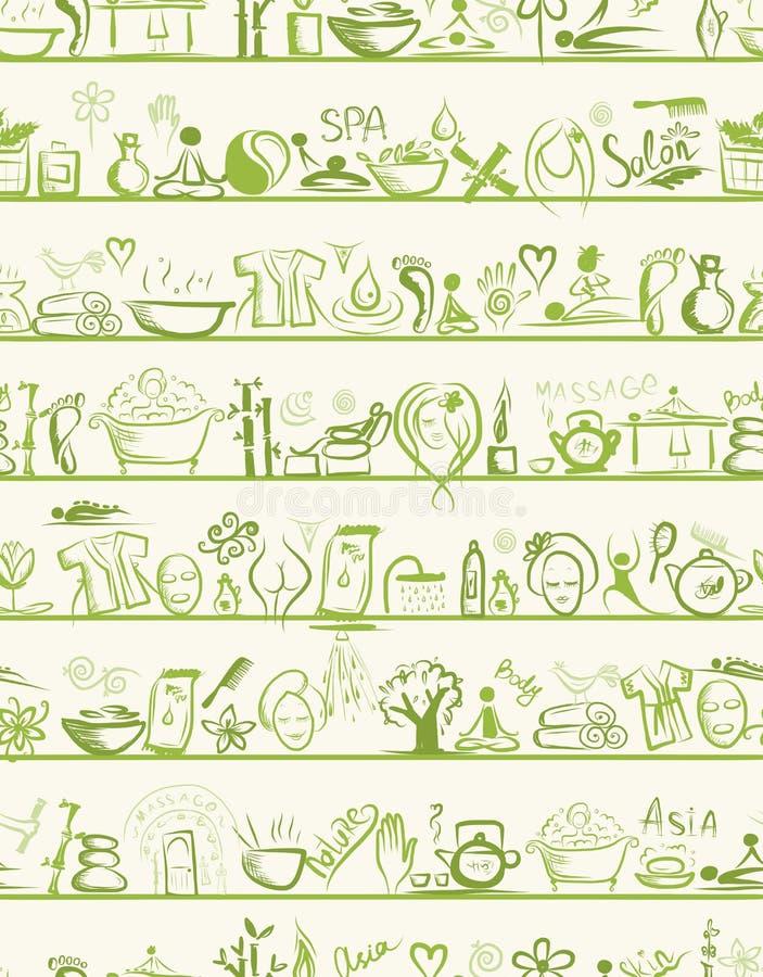 Masażu I Zdroju Projekta Elementy Na Półkach, Obraz Stock