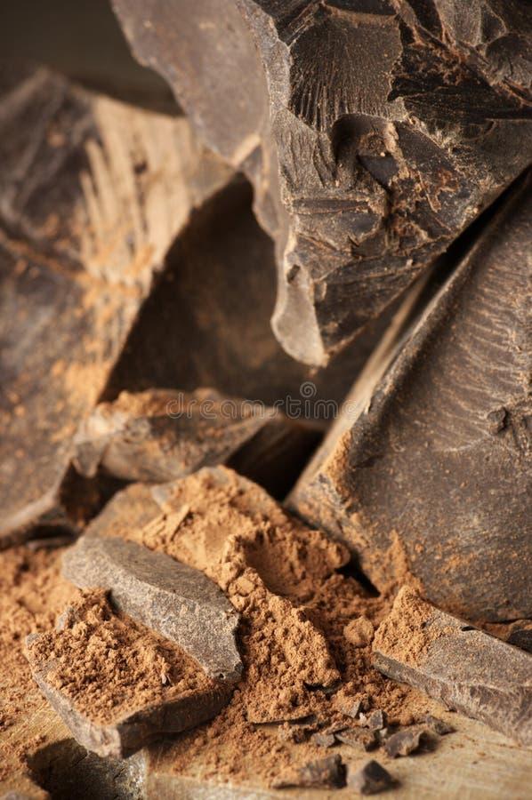 Masa del cacao y polvo de cacao fotos de archivo libres de regalías