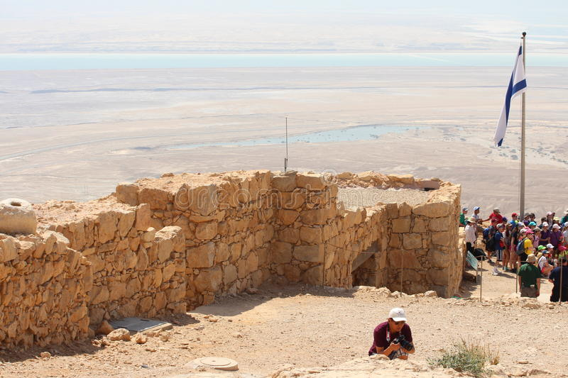 Masada Castle Ruin - Israel. Masada (Modern Hebrew מצדה metzadá fortress) is an ancient fortification in the Southern District of Israel royalty free stock photography