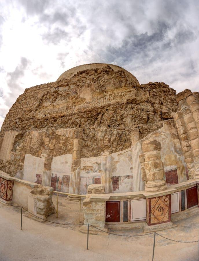 Masada fortress and king Herod's palace stock photo