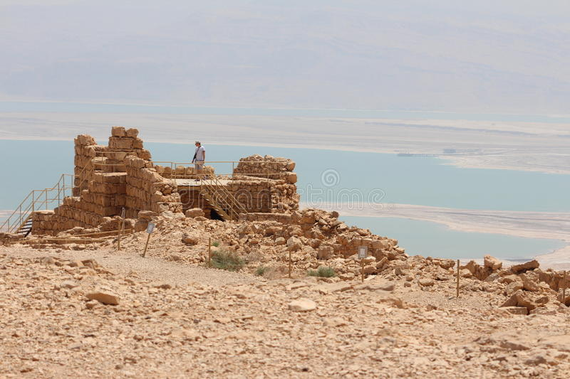 Masada Fortress Ruin - Israel. Popular tourist destination in Israel: Masada (Modern Hebrew מצדה metzadá fortress) is an ancient fortification stock photography