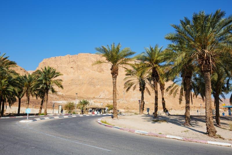 MASADA, ISRAEL - 22 DE MARZO DE 2019: La entrada del camino al oasis de Masada es un fortalecimiento antiguo en el distrito merid fotos de archivo