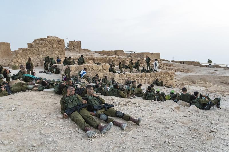 Masada, Israel. 23 October 2018: Group soldiers of the Infantry of the Israeli Army on maneuvers in the fortress of Masada to royalty free stock photos