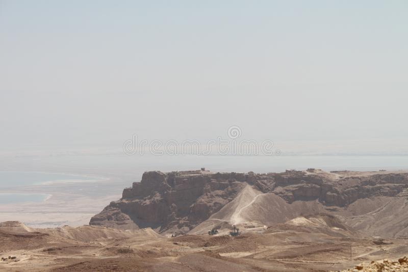 Masada over Dead Sea, Israel stock photography