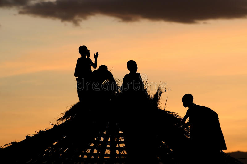 Download Masai Children stock image. Image of thatch, sunset, tanzania - 14376599