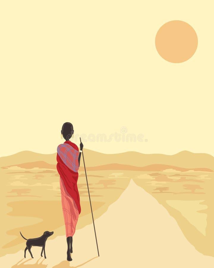 Masai com cão ilustração do vetor