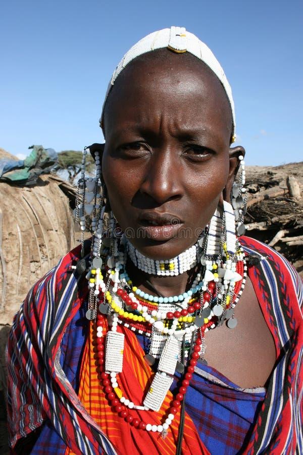 Masai das mulheres de África, Mara do Masai fotos de stock