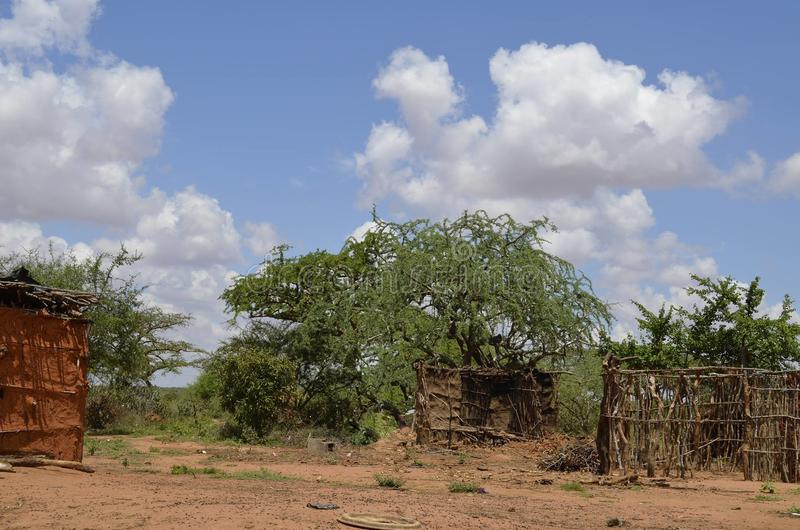 Masai-Dorf lizenzfreie stockfotografie