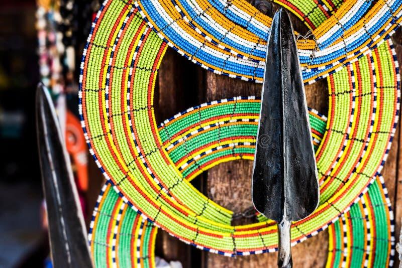 Masai dzida przy rynkiem i zdjęcie stock