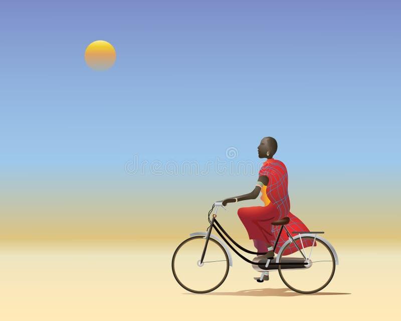 Masai em uma bicicleta ilustração royalty free