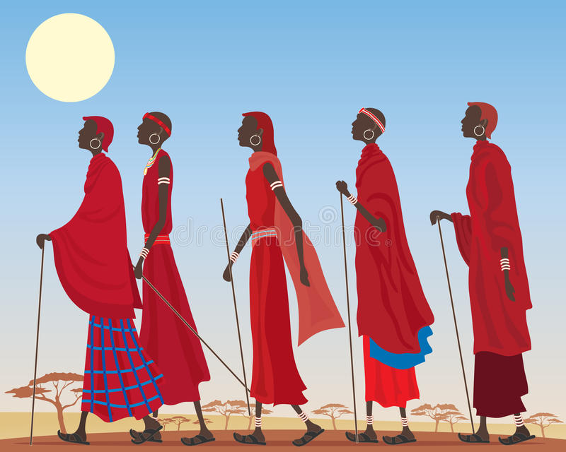 Download Masai group stock vector. Image of culture, canes, acacia - 25432766