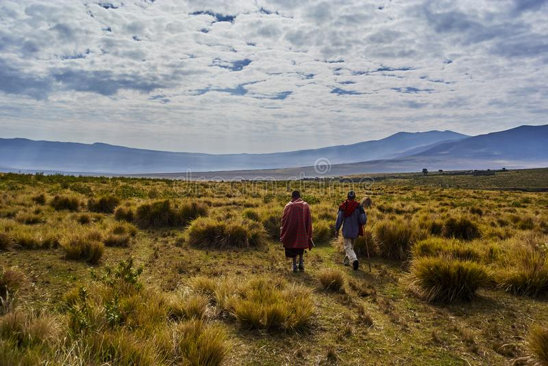 Masai guide hike in the mountains. Hike in Ngorongoro Conservation Area Nationnal park Highlands craters en route for Bulati Village from Nainokanoka with Masai royalty free stock photos
