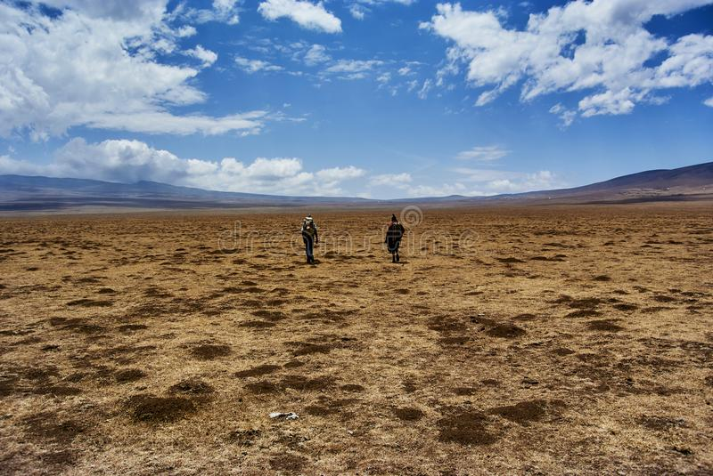 Masai guide hike in the mountains. Hike in Ngorongoro Conservation Area Nationnal park Highlands craters en route for Bulati Village from Nainokanoka with Masai stock photography