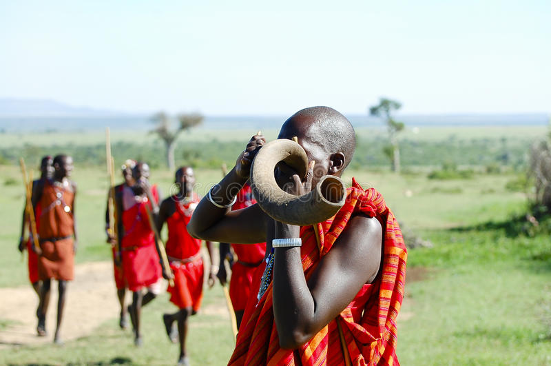 Masai kudu rogu dmuchanie - Kenja fotografia royalty free