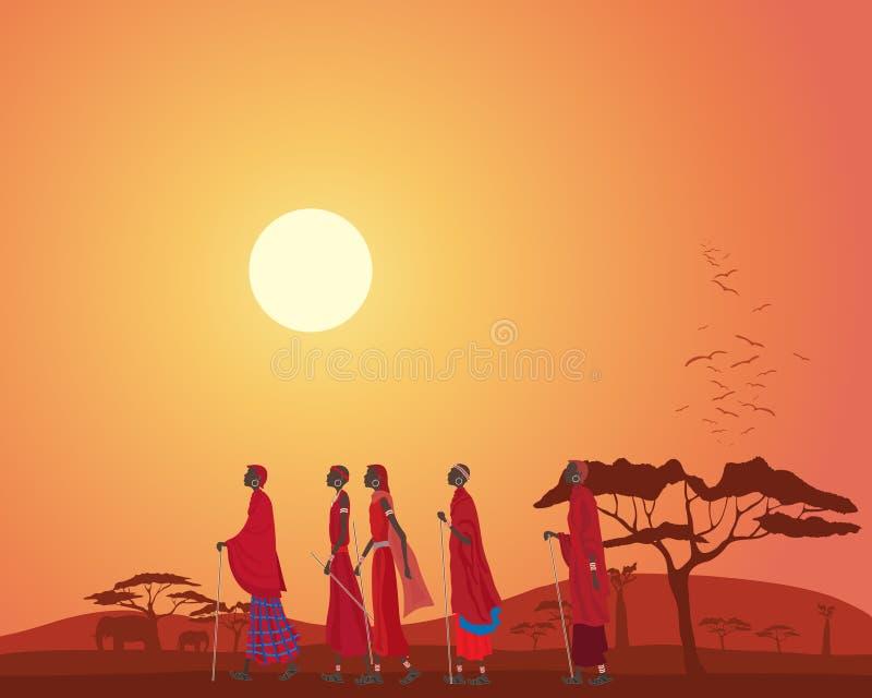 Masai men walking through a Kenyan landscape with acacia trees at sunset stock illustration