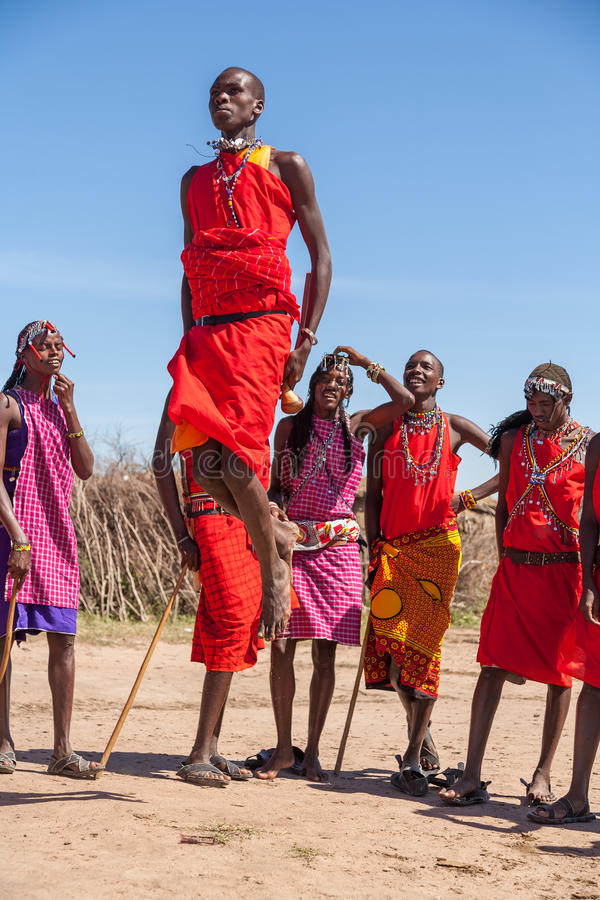 MASAI MARA,KENYA, AFRICA- FEB 12: Masai warriors royalty free stock photo