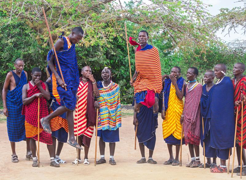 Masai-Mara tribe, Kenya - January 18, 2019: Group of african men of Masai tribe indigenous tribe of Kenya are dancing. Masai-Mara tribe, Kenya - January 18 stock image