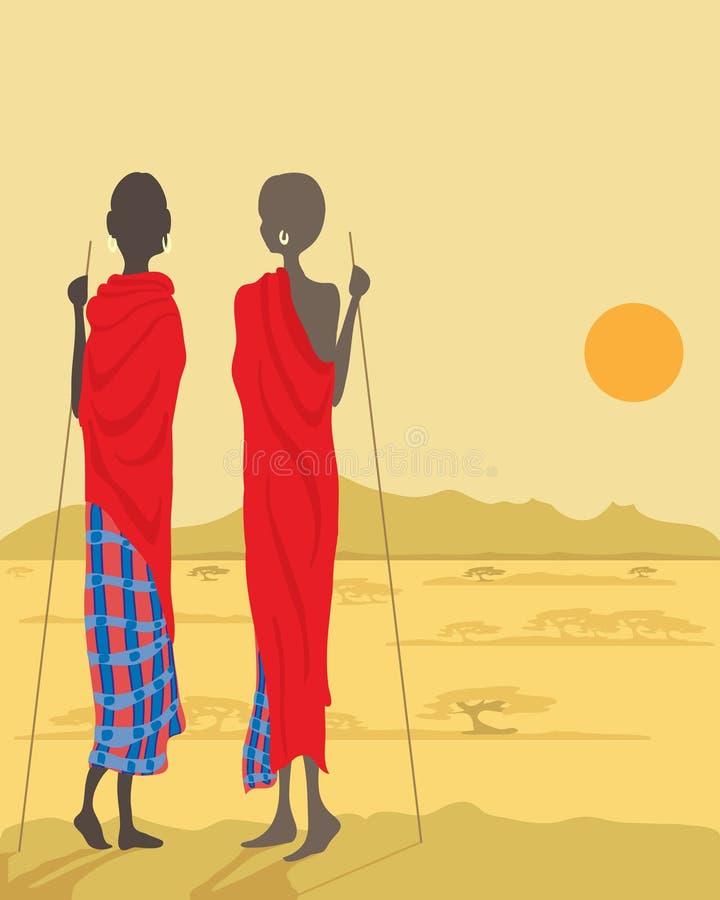 Masai men stock illustration
