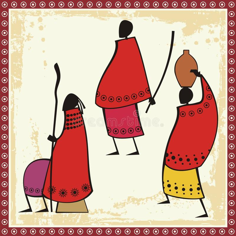 Masai People Illustrations royalty free illustration