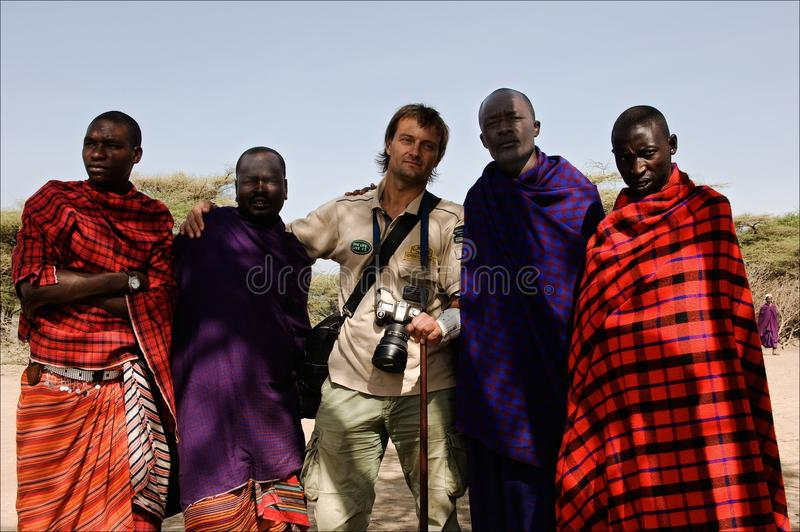 Masai with photographer. stock photography