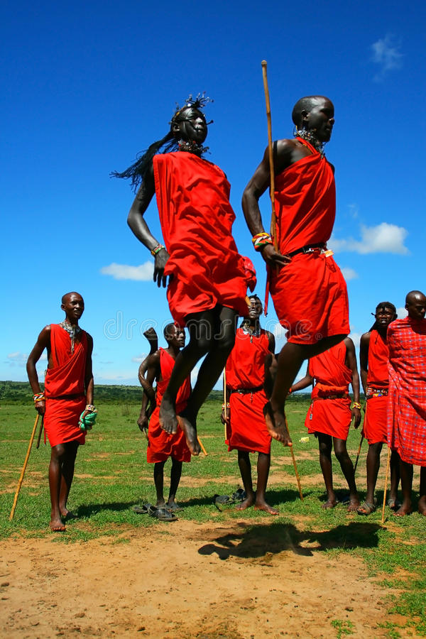 Free Masai Warrior Dancing Traditional Dance Royalty Free Stock Photography - 14274887