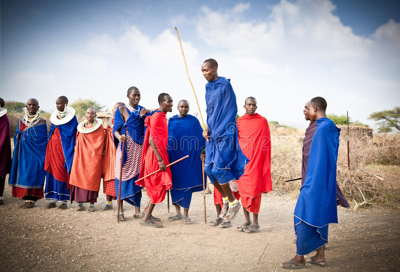 Masai warriors dancing traditional jumps as cultural ceremony. T stock photos