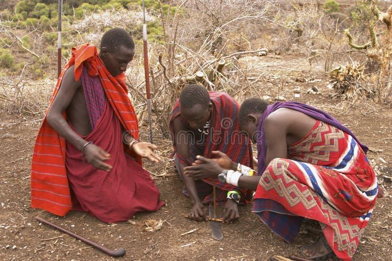 Download Masai Warriors Lighting Fire Editorial Image - Image of tanzania, outdoors: 41638285