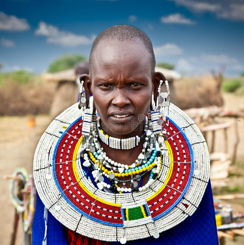 Masai woman with traditional ornaments, Tanzania. stock photos