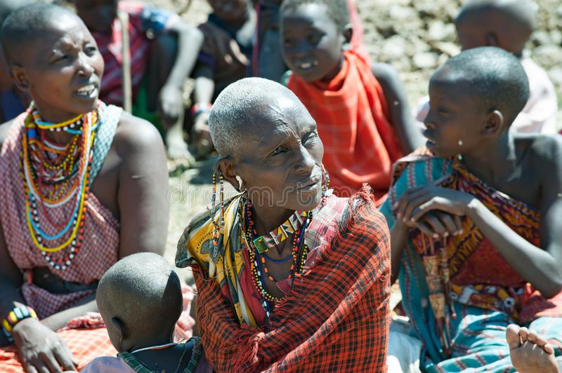 Maasai tribe women with traditional beadwork , Tanzania royalty free stock images