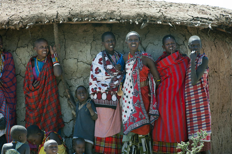 Masai women in front of hutt royalty free stock photos