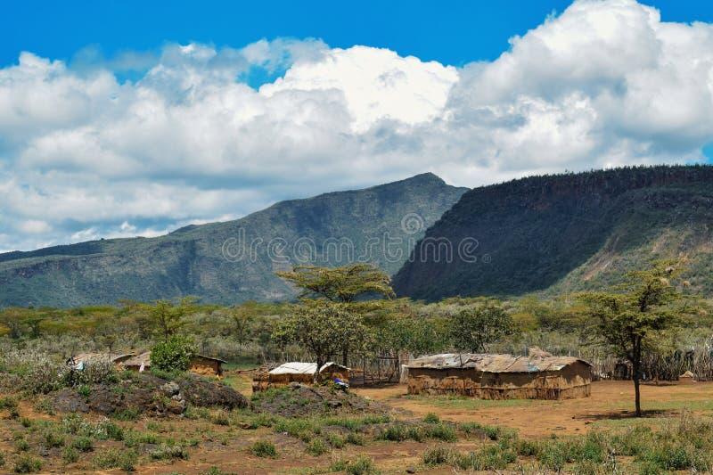 Masaigehöft an den Vorbergen des Bergs Suswa, Suswa-Erhaltung, Rift Valley lizenzfreies stockbild