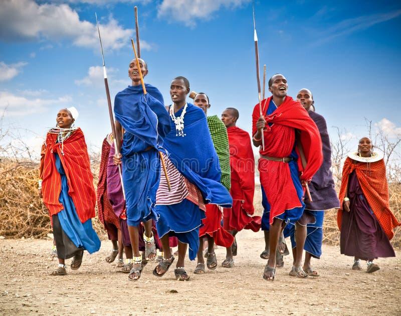 Masaikrieger, die traditionelle Sprünge als kulturelle Zeremonie tanzen T lizenzfreies stockfoto