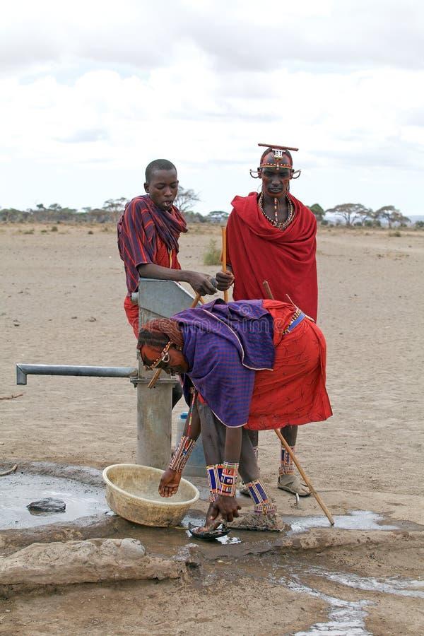 Masaimänner lizenzfreie stockfotos